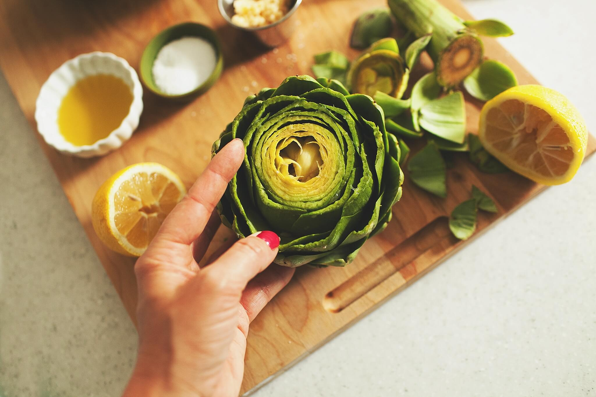 How to Cook Crockpot Artichokes - Step 5: Open up the petals