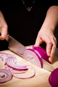 Slice your red onion by cutting it in half first & then julienne it