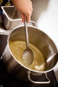 Heat the water, vinegar, sugar & salt to a boil.