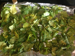 arrange kale in single layer on baking sheet