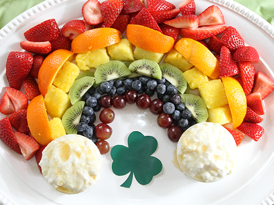 Rainbow Fruit Tray With Pot Of Gold Dip The Produce Mom