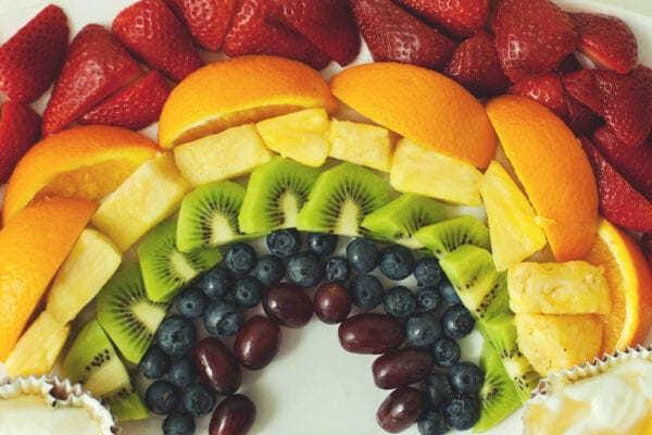 Rainbow Fruit Tray with Pot of Gold Fruit Dip