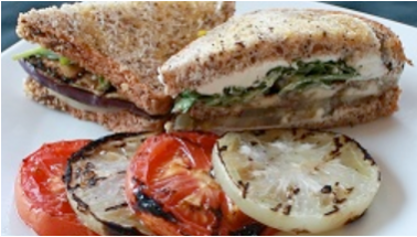 Eggplant and Green Tomato Sandwich