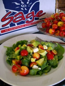 Fresh Spinach, Avocado, Rainier Cherry and Feta Salad With Cherry Dijonnaise Dressing