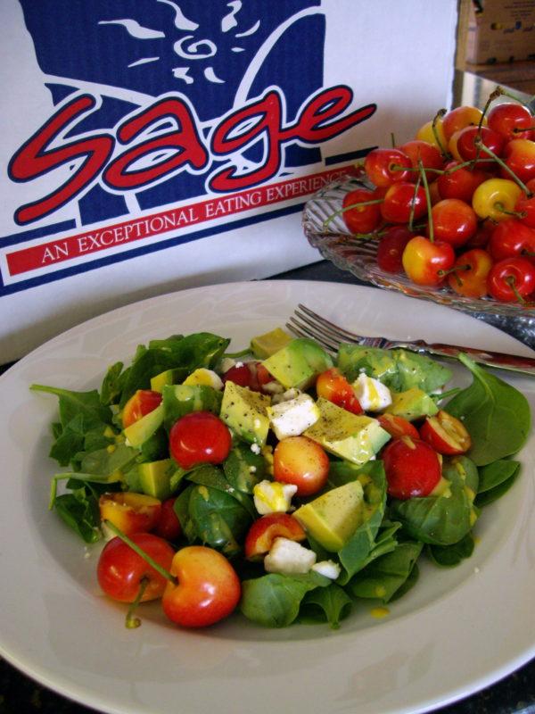 Fresh Spinach, Avocado, Rainier Cherry and Feta Salad With Cherry Dijonnaise Dressing