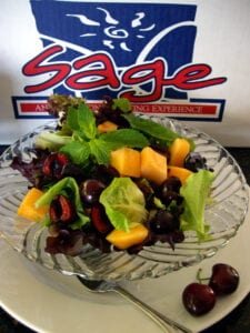 Cherry & Cantaloupe Salad with Minted Spring Mix