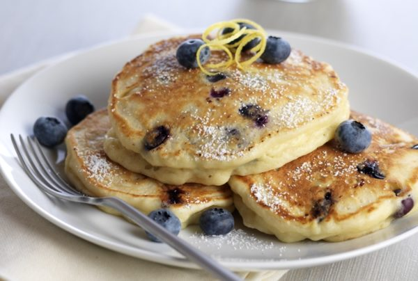 Fluffy Lemon Ricotta Blueberry Pancakes