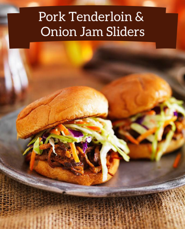 Pork Tenderloin & Onion Jam Sliders | Easy to make & kid-friendly. The onion & apricot jam is what makes these sliders so special!