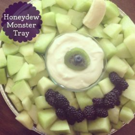 Honeydew Melon Monster Tray | Great fruit tray for a child's birthday party