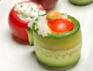 Stuffed Tomatoes and Cucumber Wraps