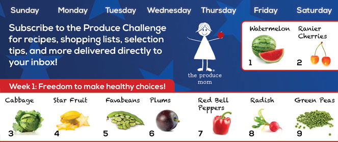 July 2016 Produce Challenge Calendar