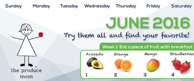 June 2016 Produce Challenge Calendar