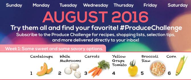 August 2016 Produce Challenge Calendar