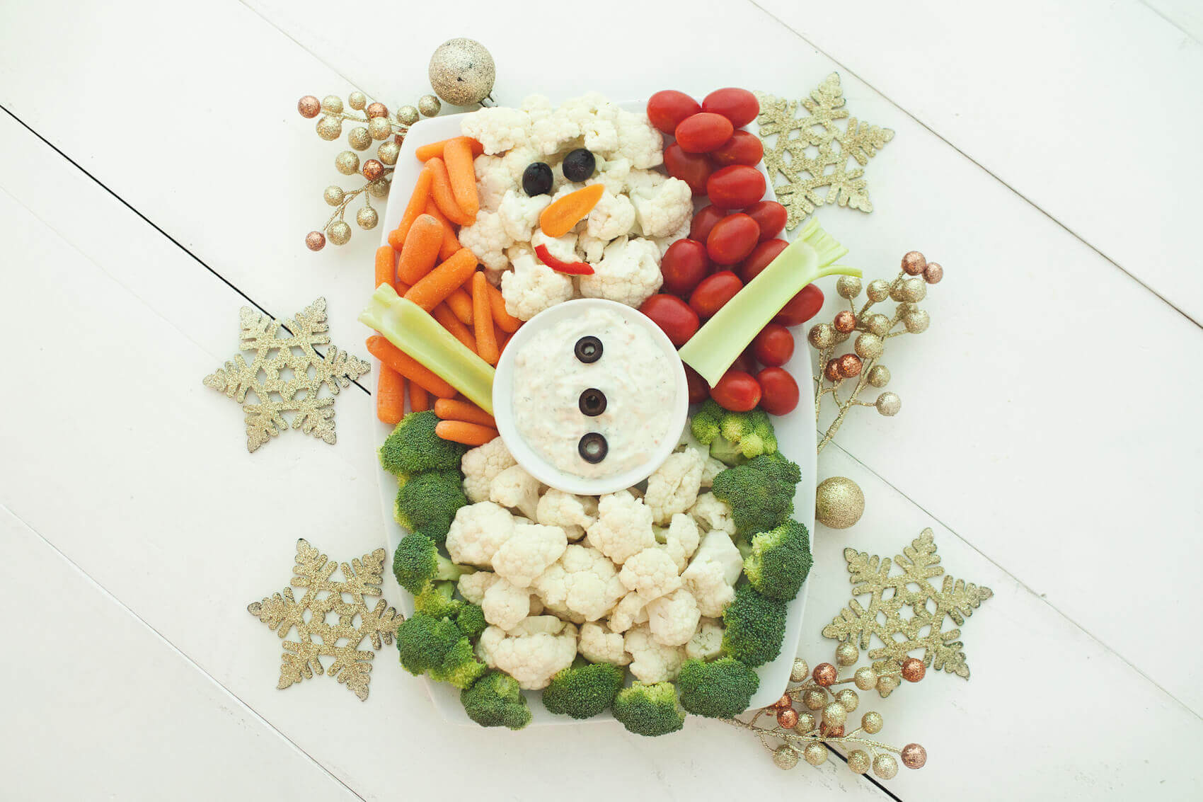 Snowman Vegetable Tray