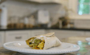 Broccoli Cole Slaw and Egg Scramble | Quick and easy breakfast burrito recipe