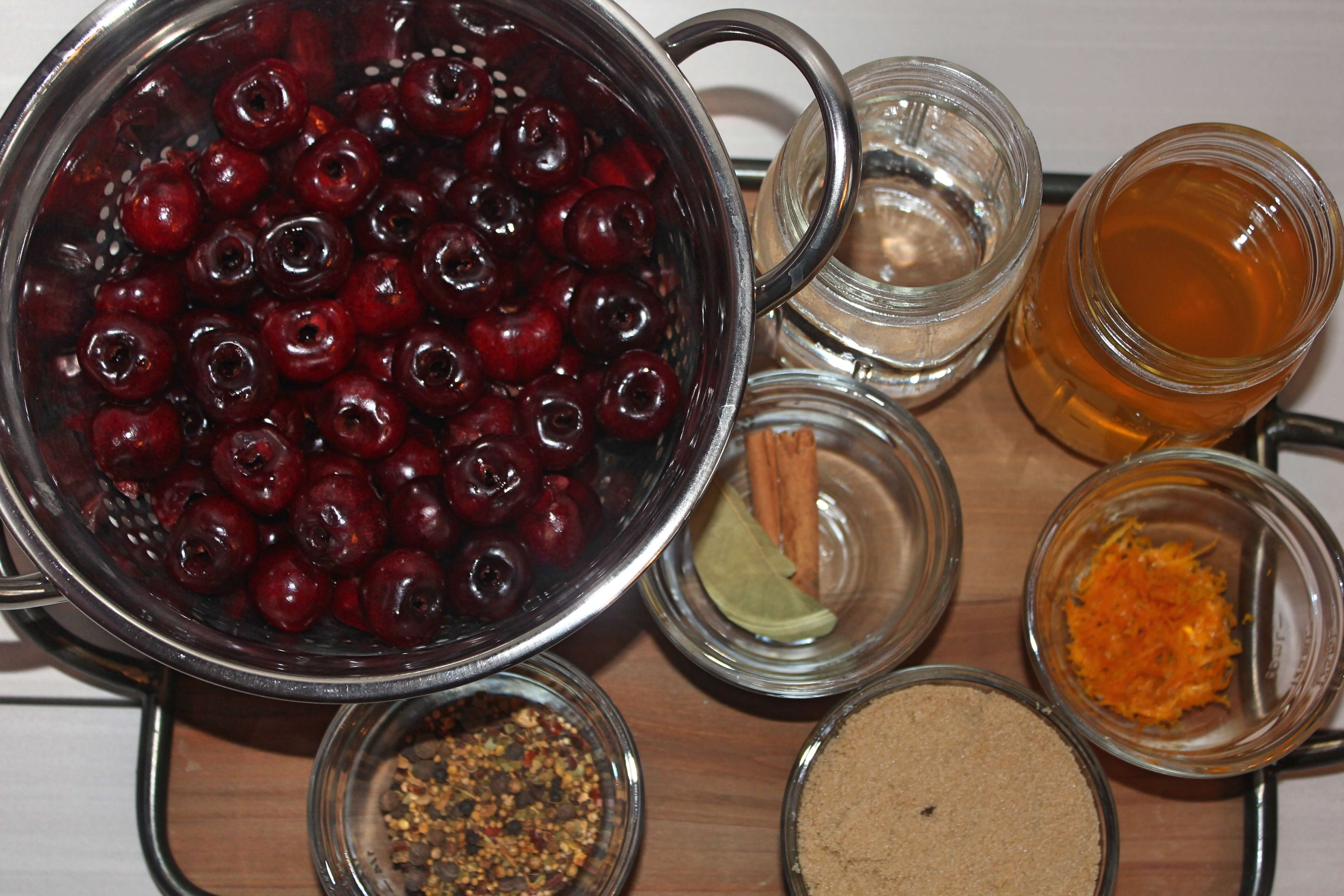 Ingredients for Pickled Cherries