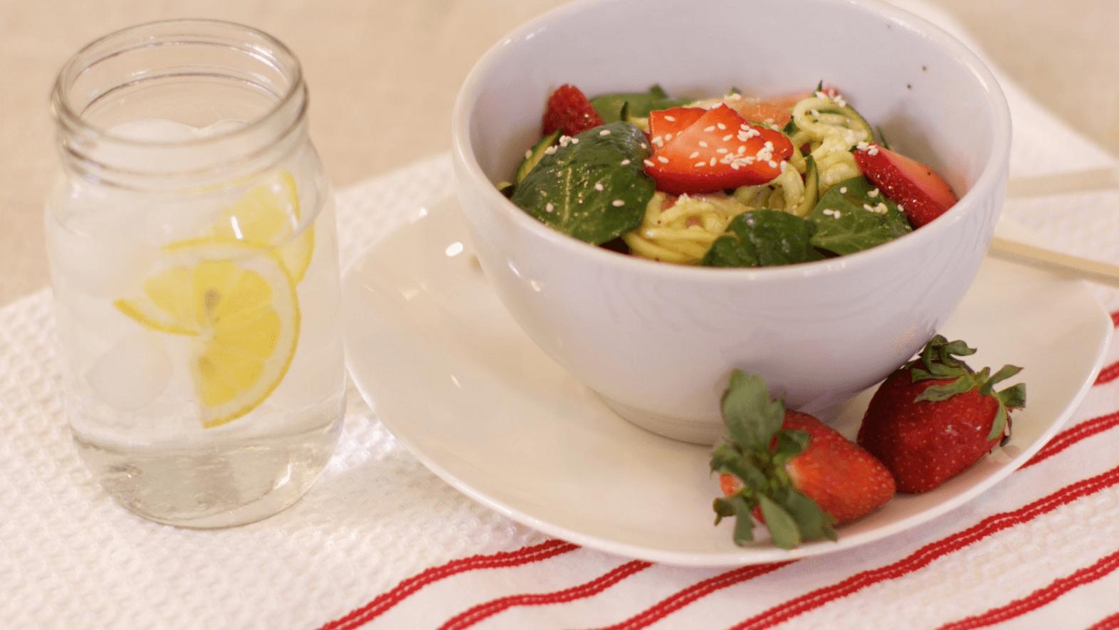 Strawberry Shrimp Zucchini Noodle Bowls
