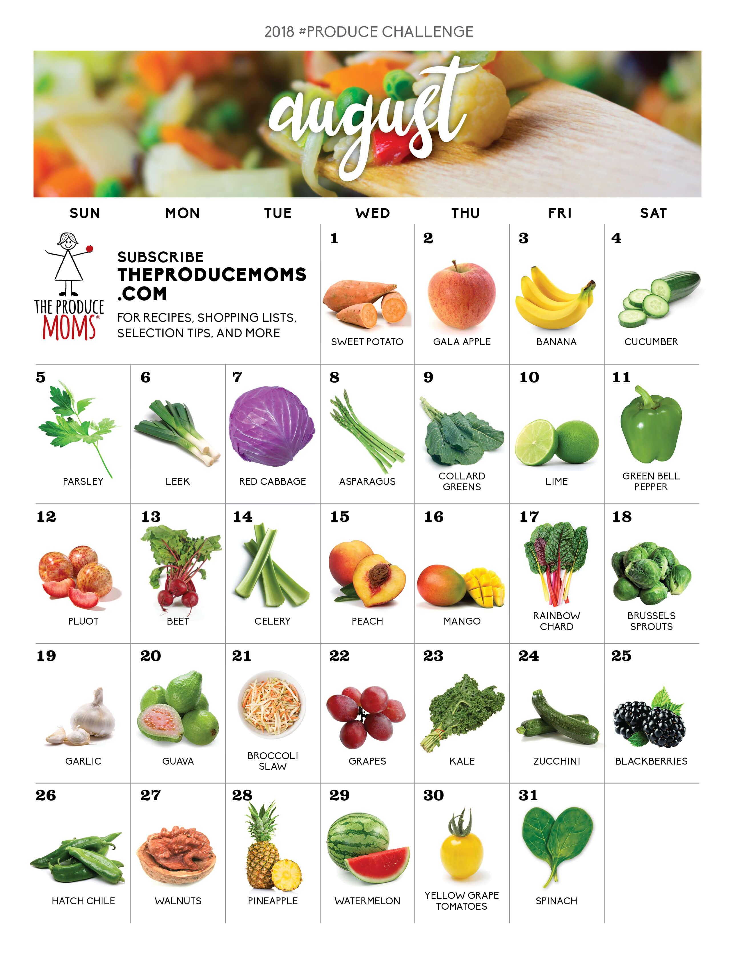 August 2018 Produce Challenge Calendar