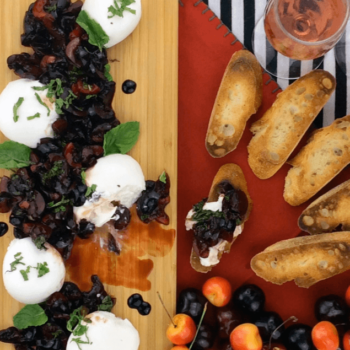 Burrata with Balsamic Cherries and Mint