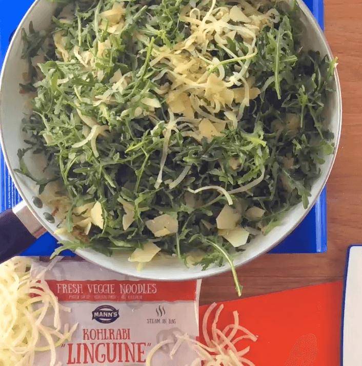"Kohlrabi ""Linguine"" with Arugula and Parmesan"