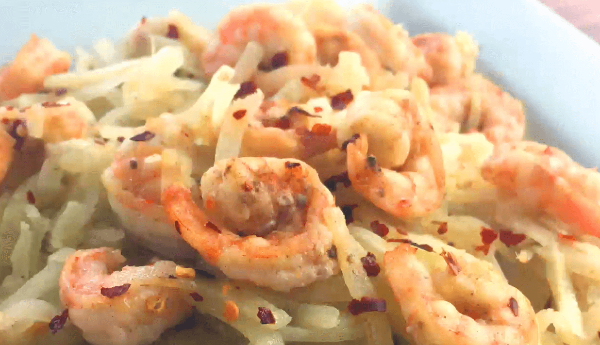 "Kohlrabi ""Linguine"" with Garlic Lemon Butter Shrimp"