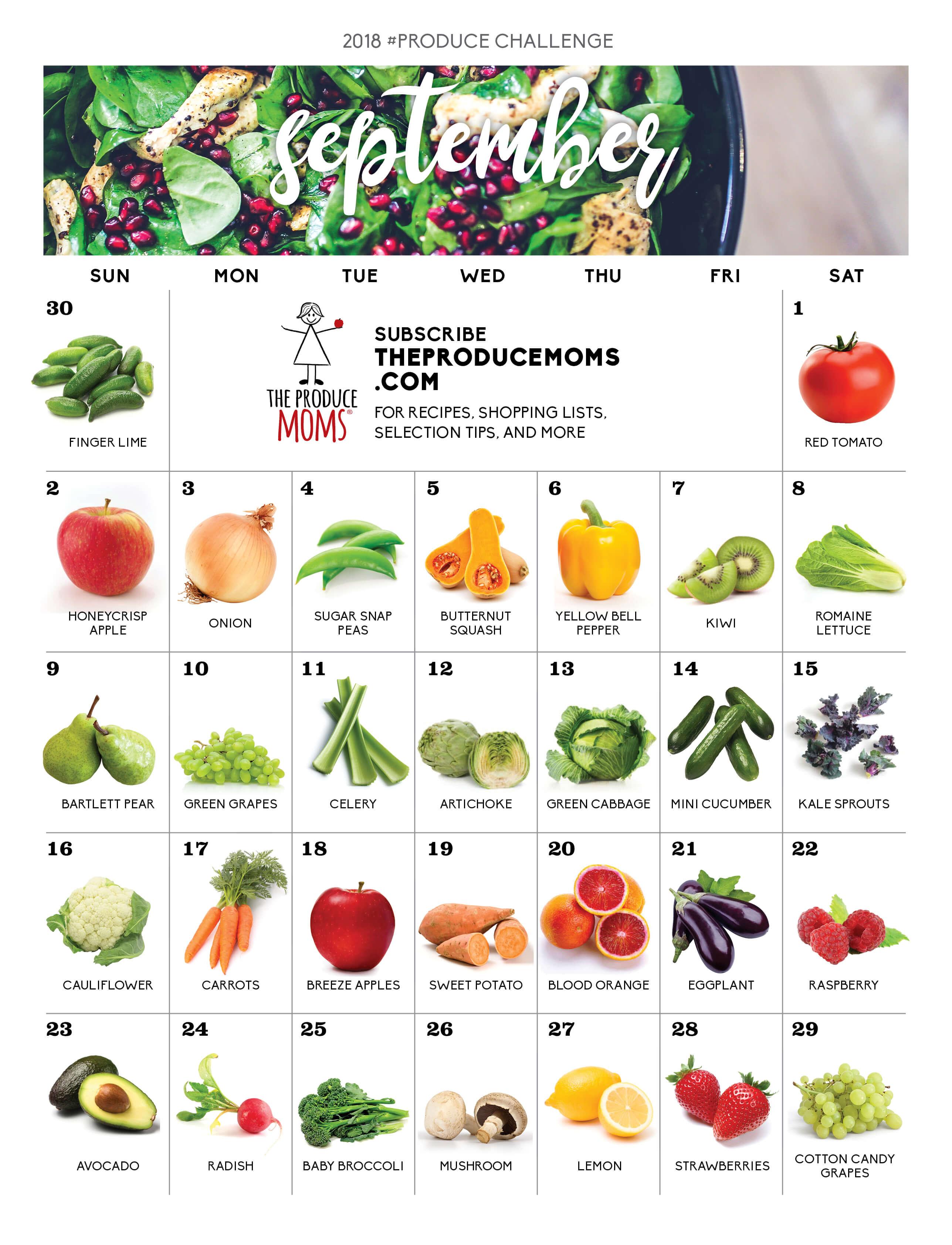 September 2018 Produce Challenge Calendar