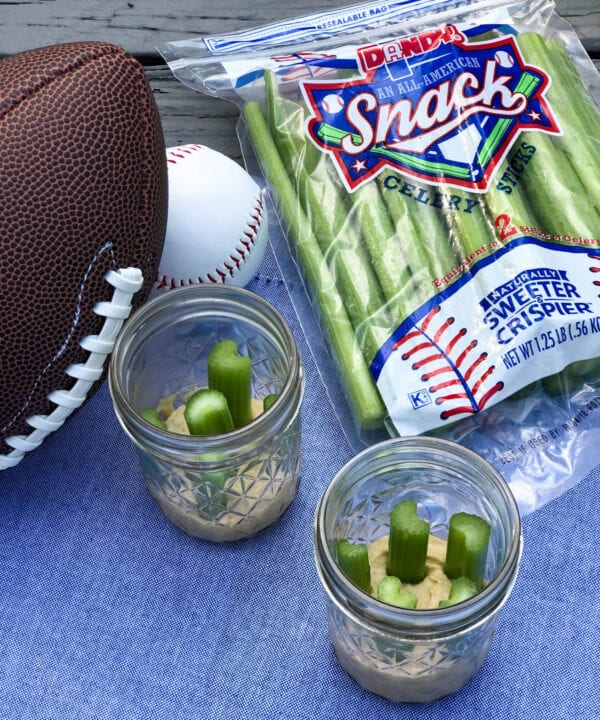 Celery Sticks and Hummus Jars