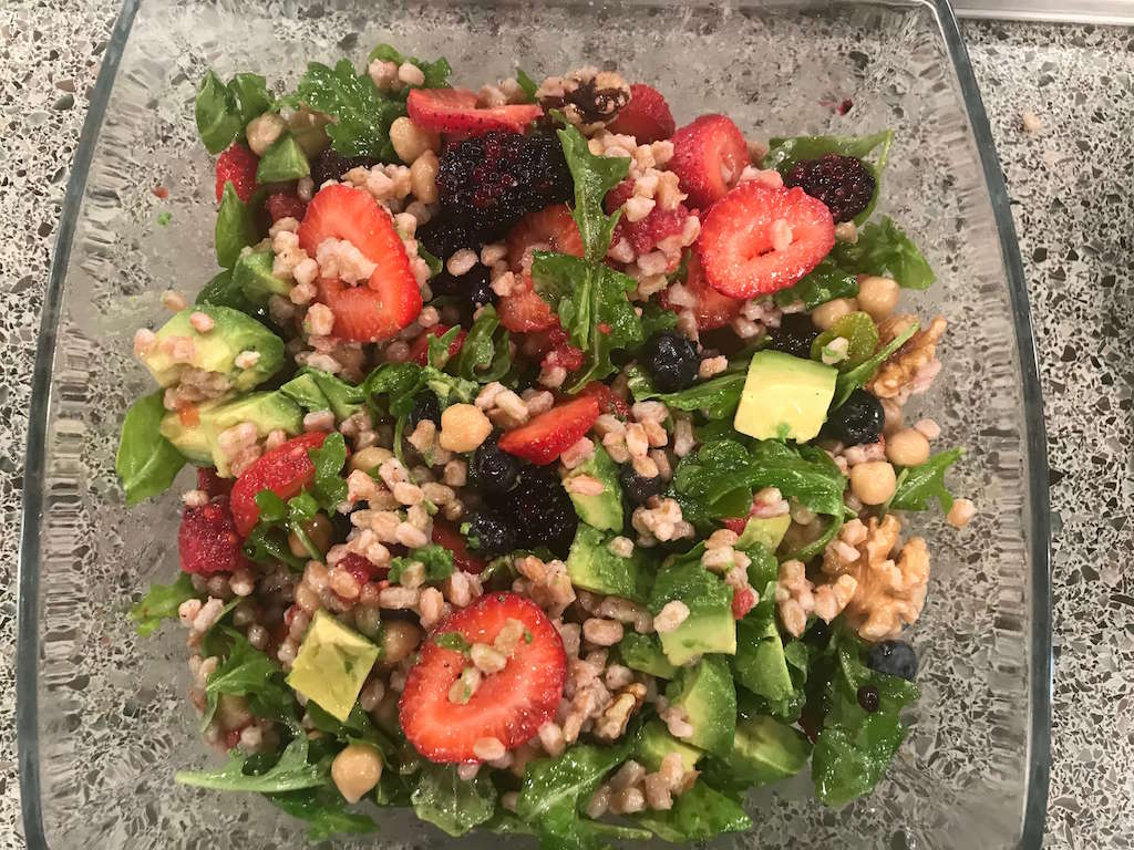 Farro Chickpea Salad with Avocado and Berries