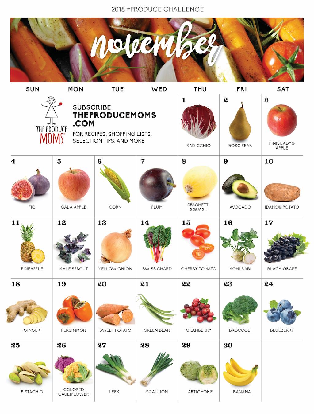 November 2018 Produce Challenge Calendar