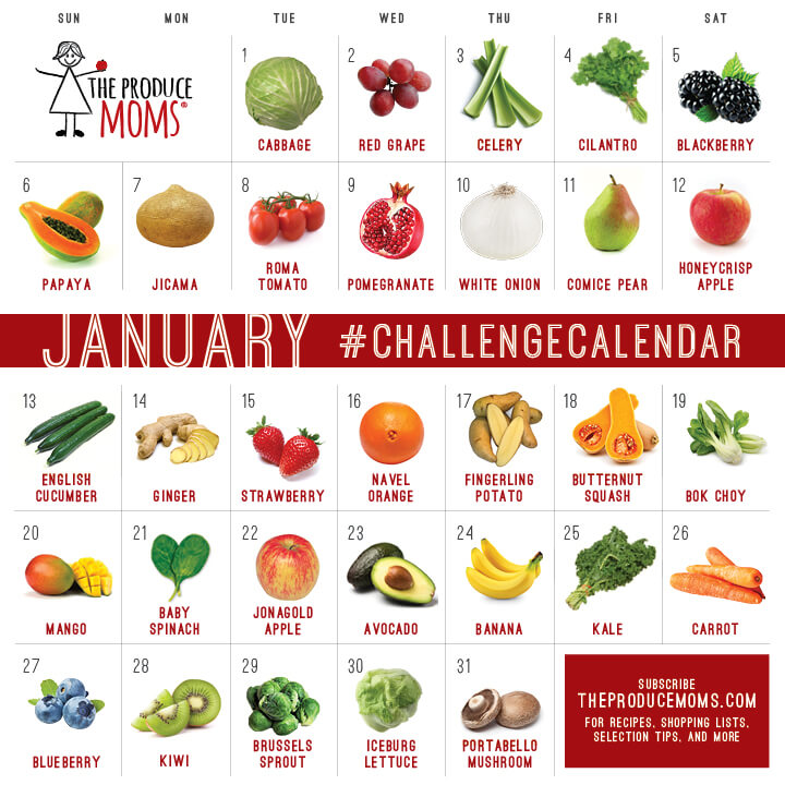 January 2019 Produce Challenge Calendar