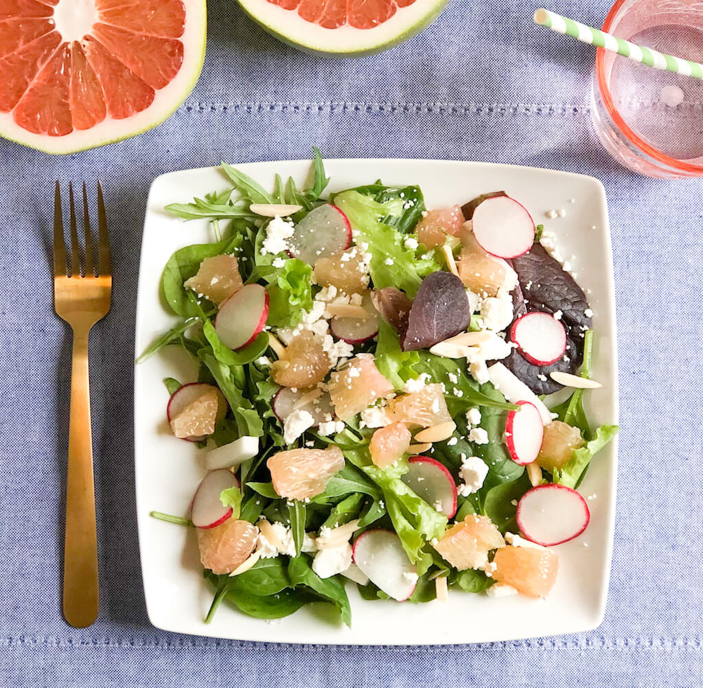Pummelo Salad with Jicama, Radishes, and Goat Cheese