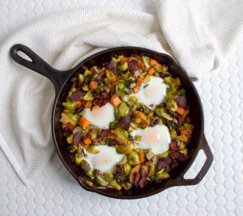 Brussels Sprouts and Sweet Potato Hash