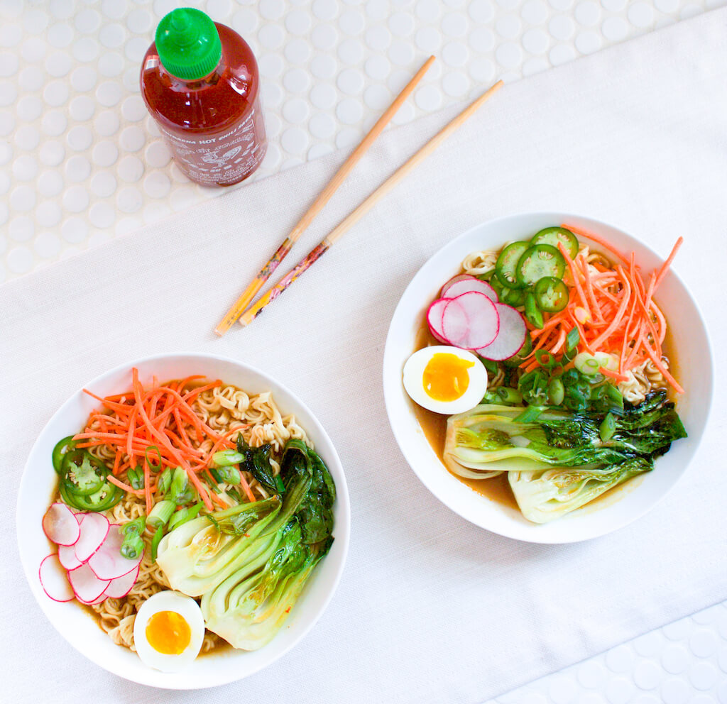 Spicy Vegetarian Ramen Soup with Baby Bok Choy