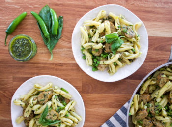 Serrano Pepper Pesto Pasta with Chicken Sausage