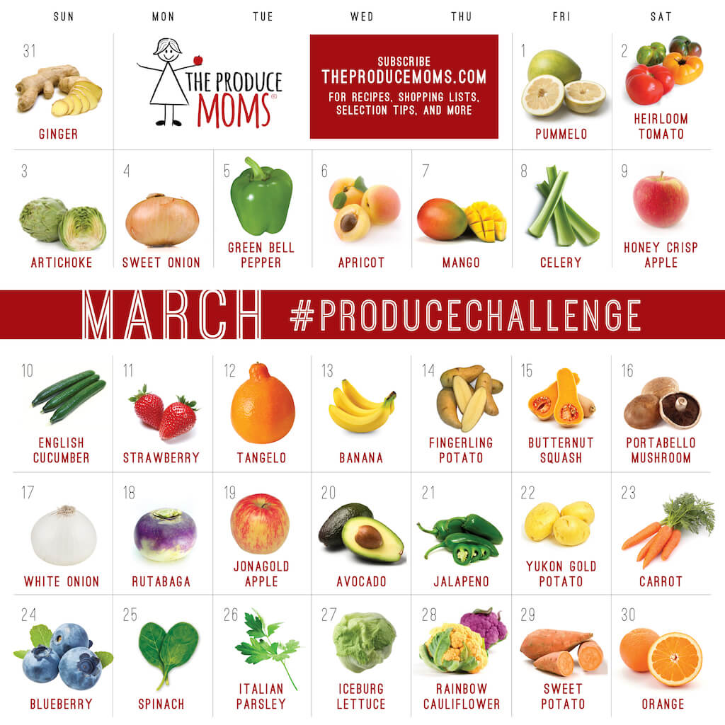 March 2019 Produce Challenge Calendar