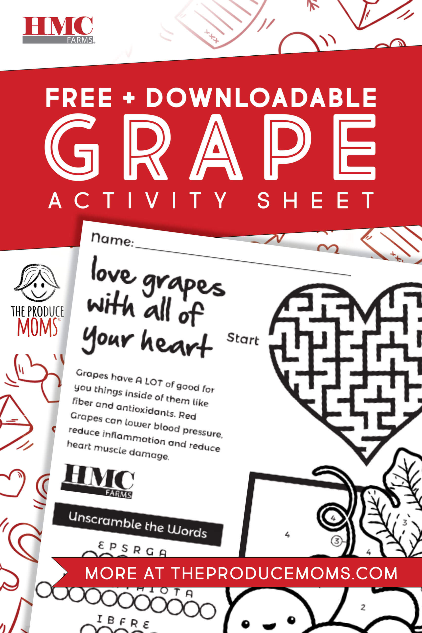 Love Grapes with All Your Heart: Activity Sheet
