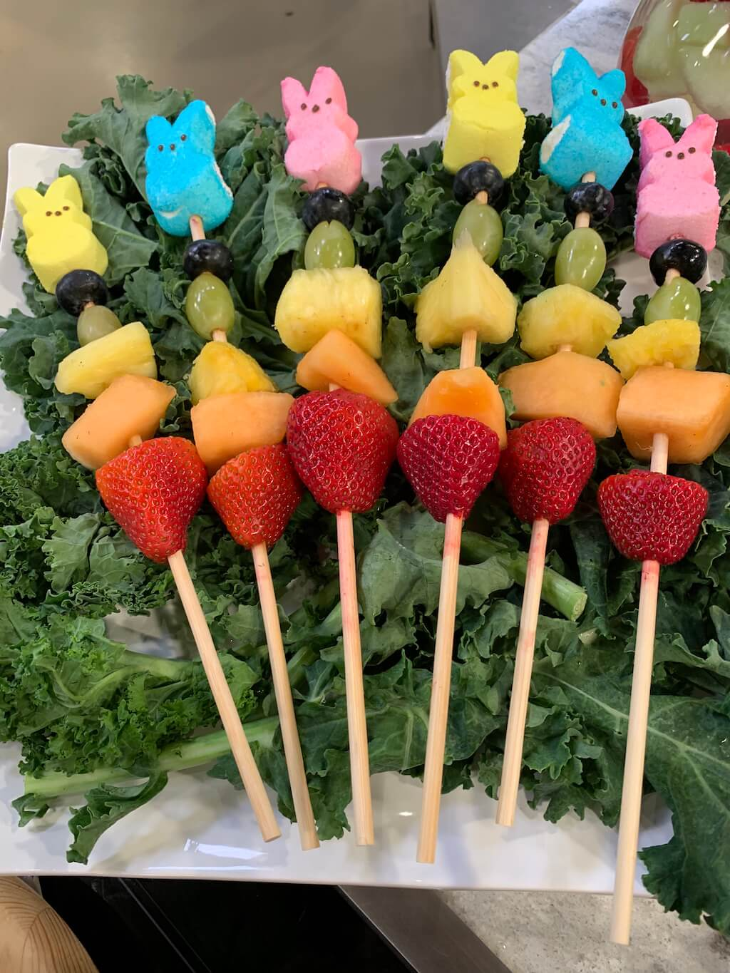 Fruit Skewer Peeps - A Colorful Easter Table Centerpiece