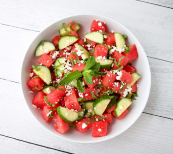 Watermelon and Cucumber Salad with Mint & Feta