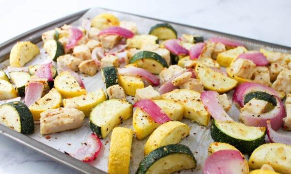 Lemon Pepper Chicken & Summer Squash Sheet Pan