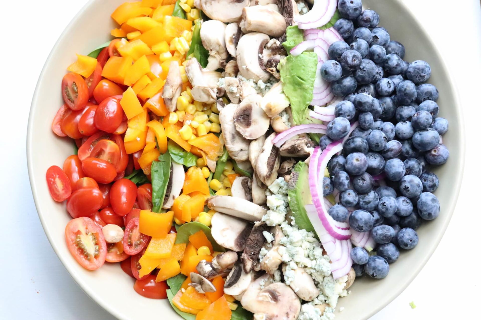 Rainbow Summer Salad with White Mushrooms