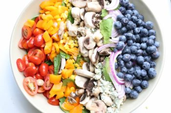 Rainbow Summer Salad with White Mushrooms