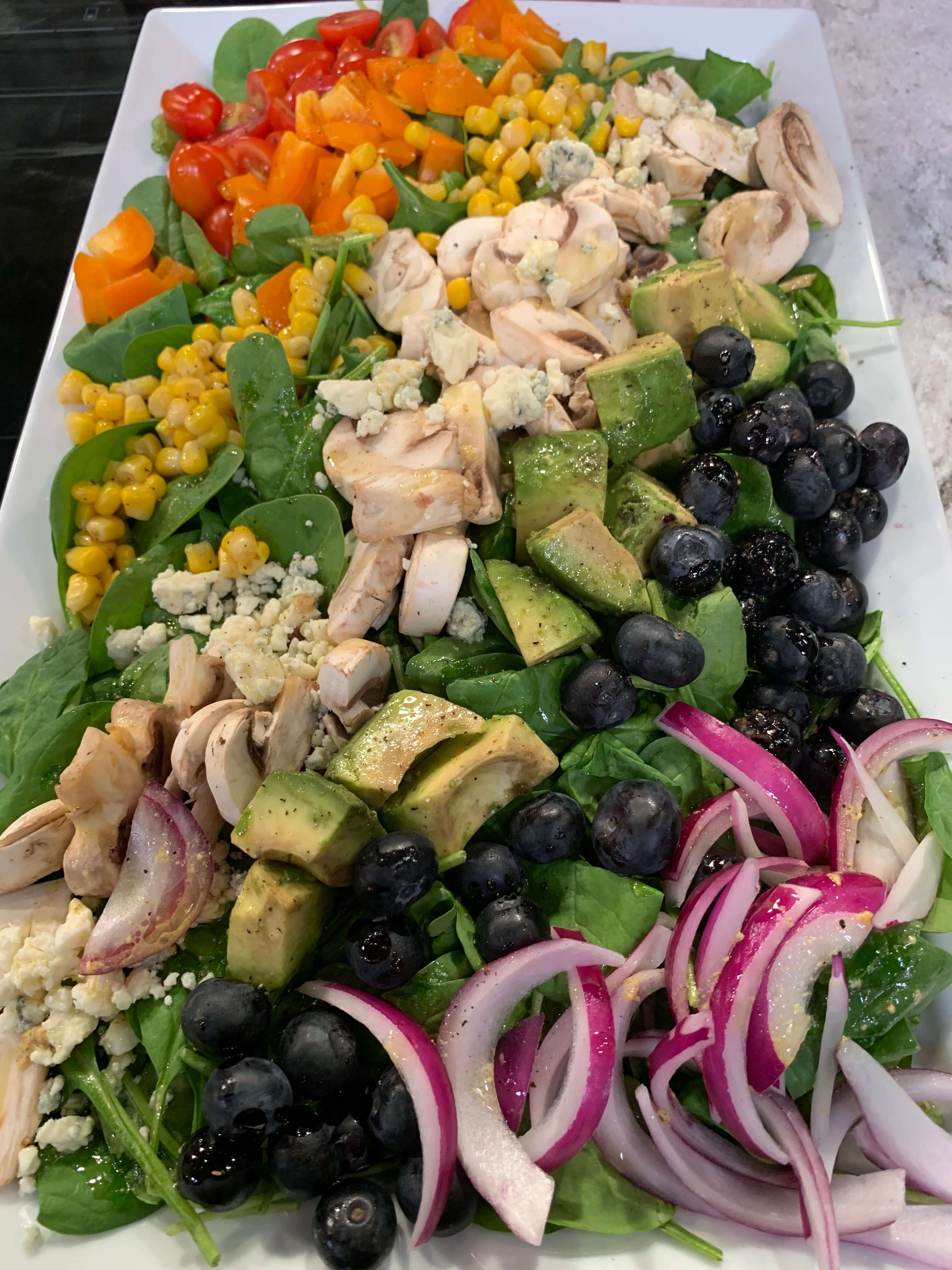 Rainbow Salad with White Mushrooms