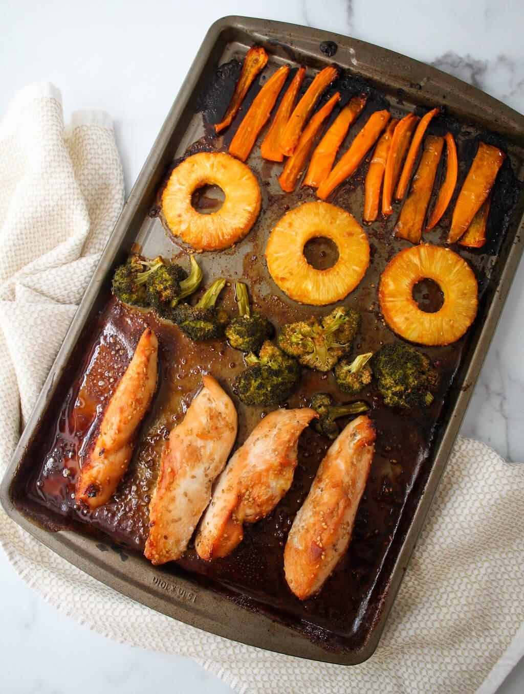 Easy Pineapple Teriyaki Chicken Sheet Pan