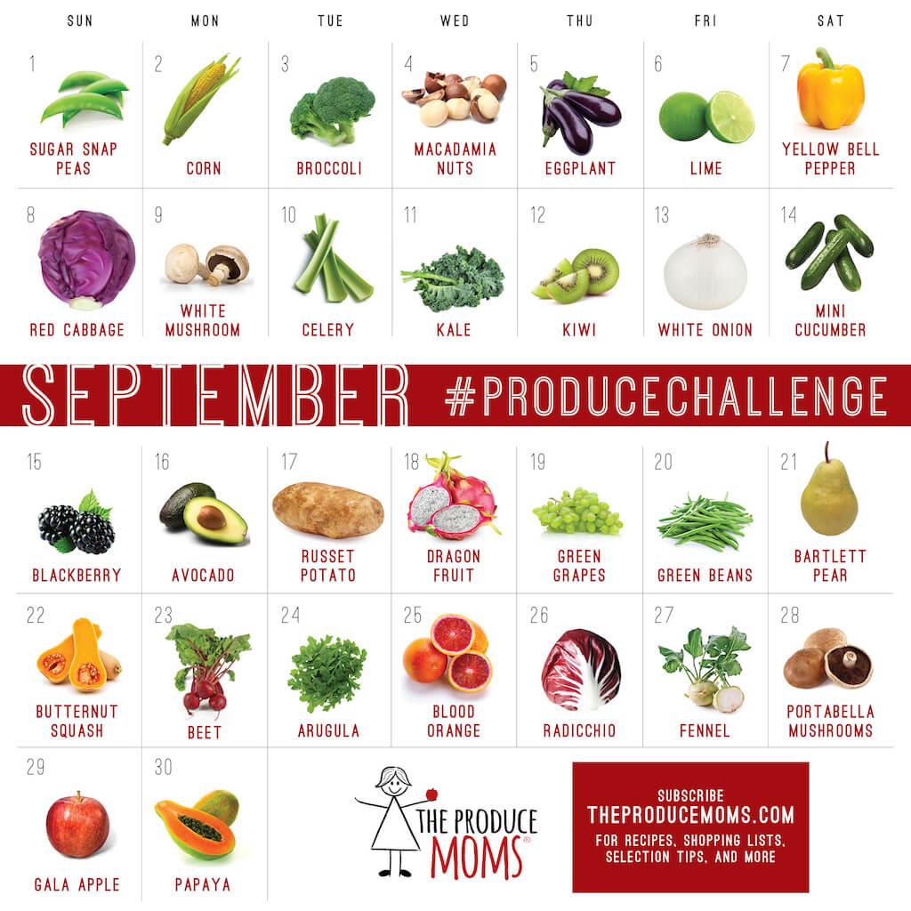 September 2019 Produce Challenge Calendar