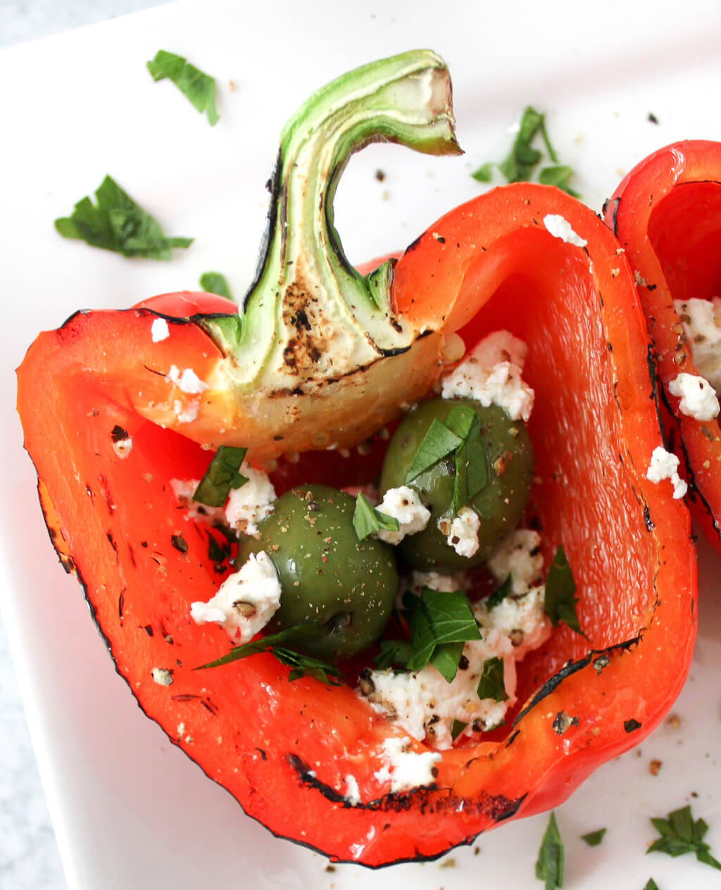 Grilled Red Bell Peppers with Olives and Feta
