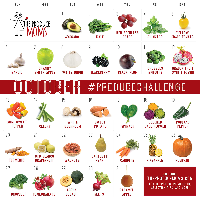 October 2019 Produce Challenge Calendar