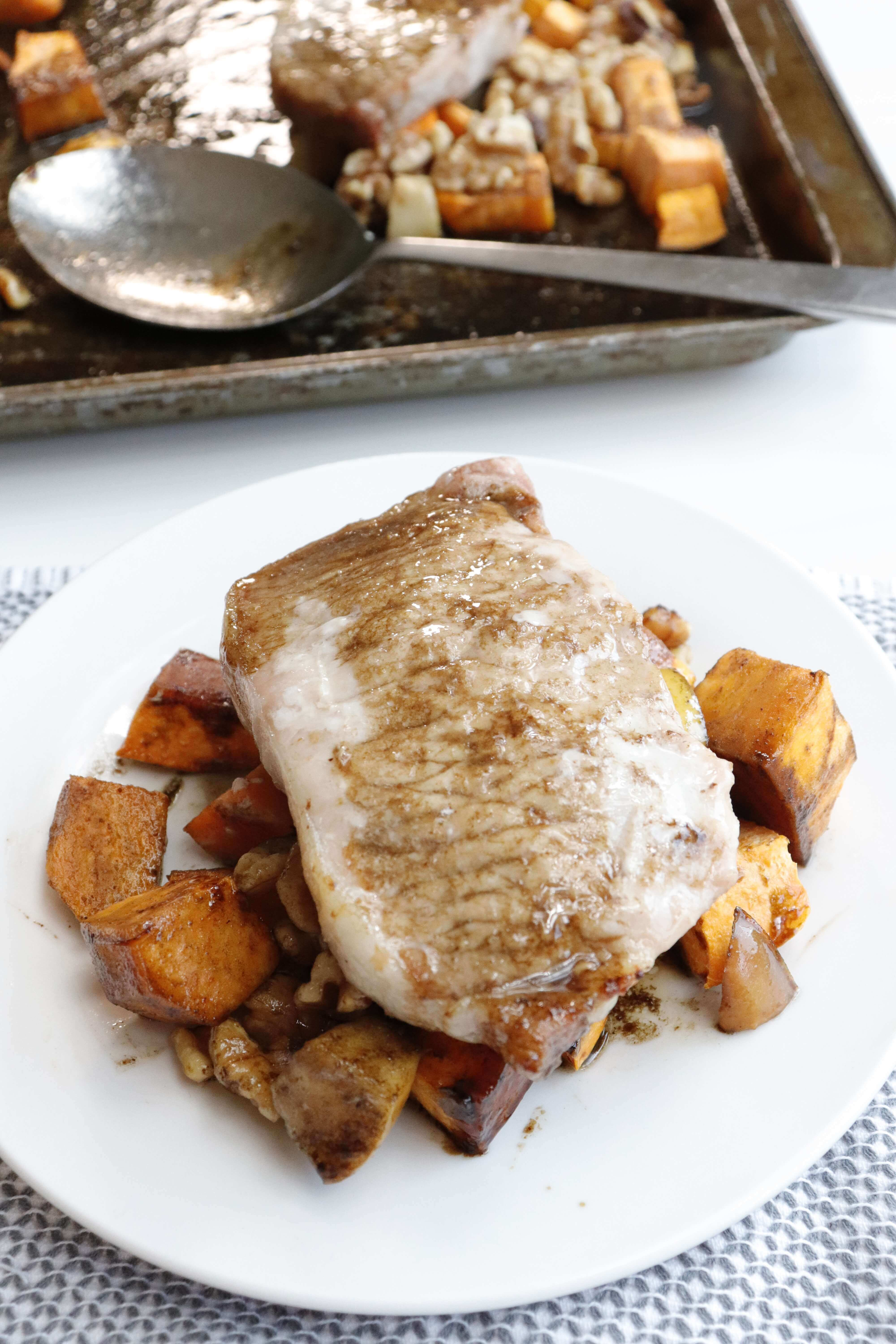 Pork Sheet Pan with Sweet Potato and Apple