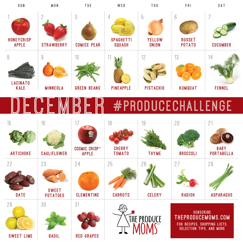December 2019 Produce Challenge Calendar