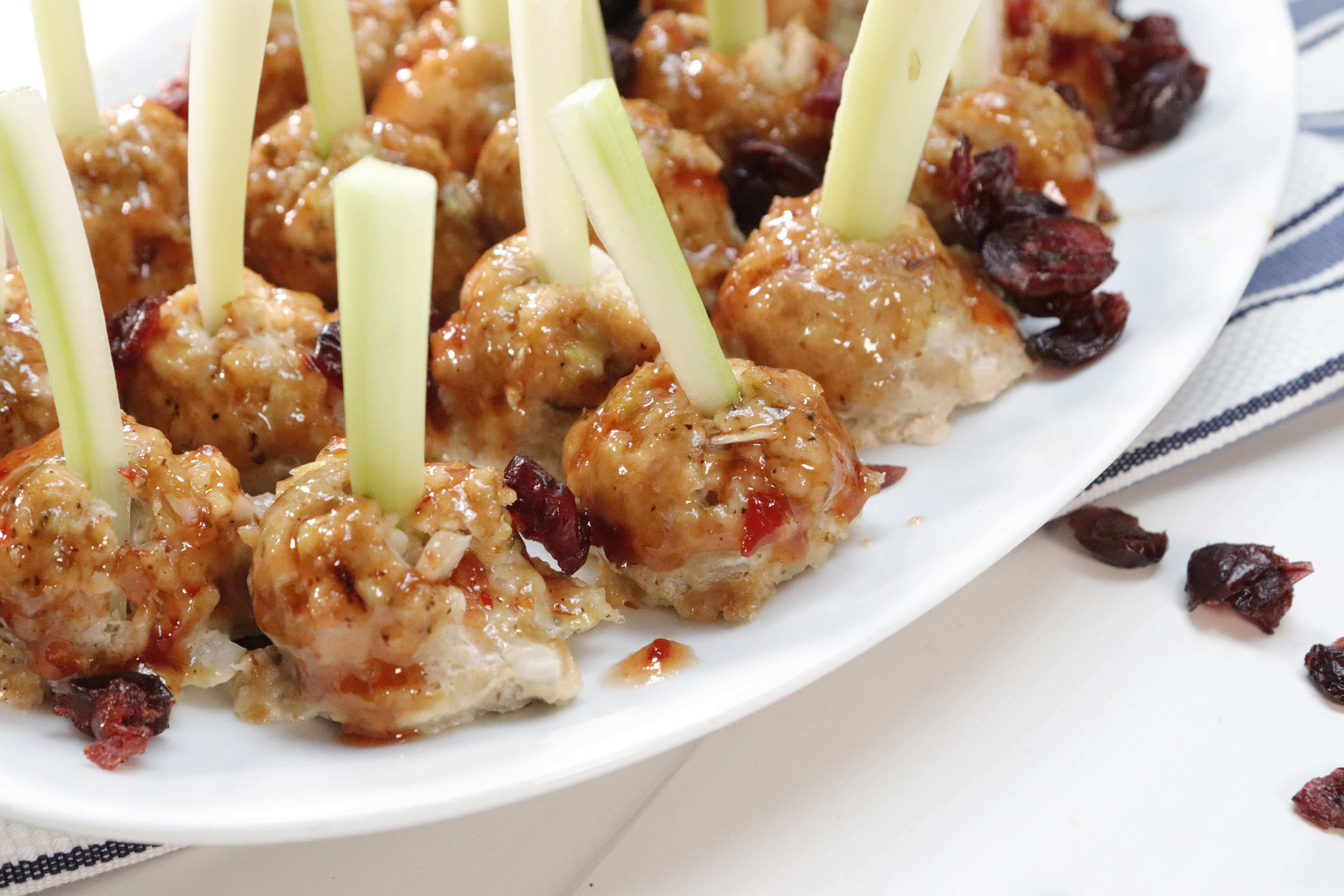 Turkey Meatballs And Celery With Cranberry Chili Sauce