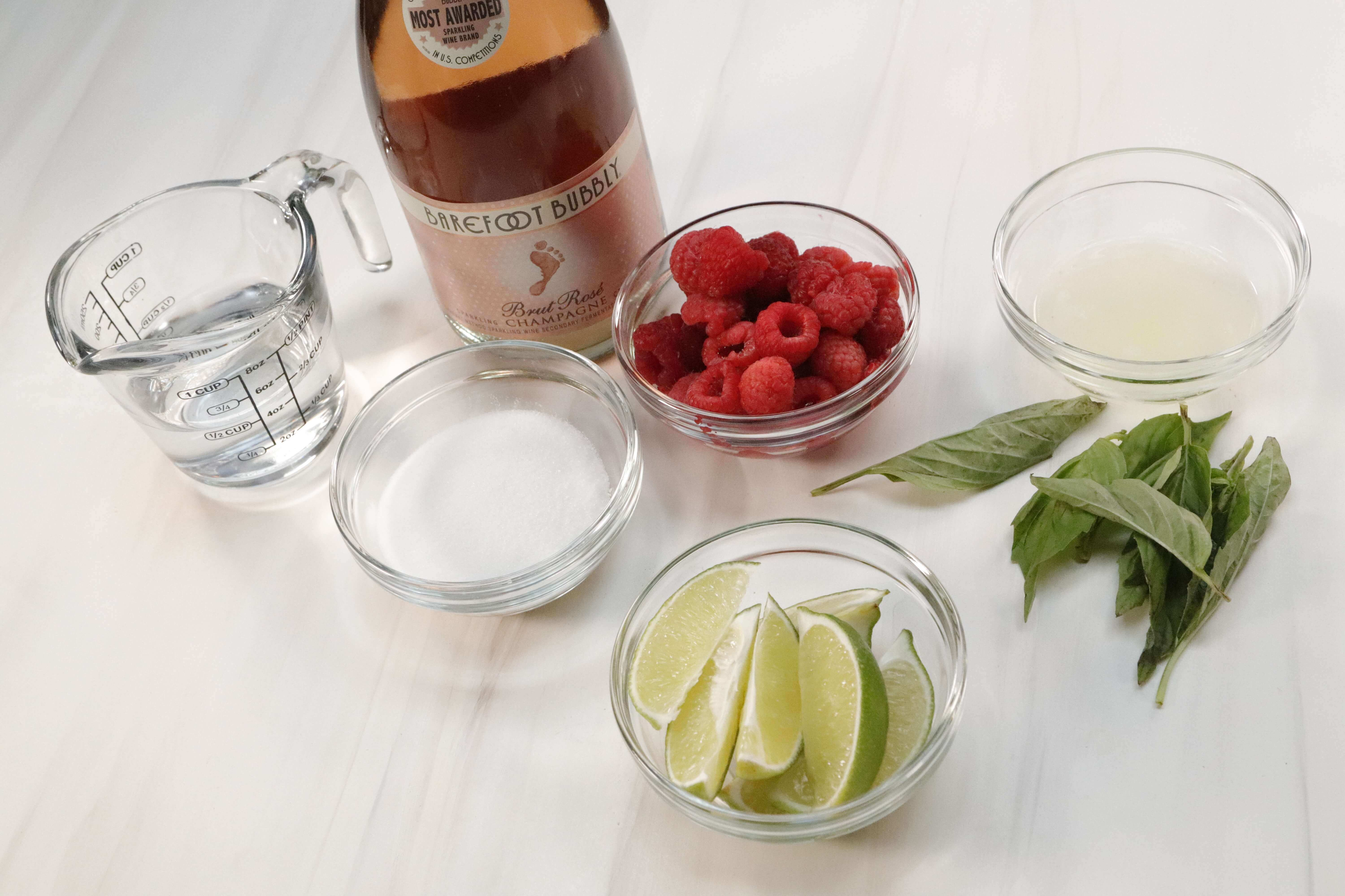 ingredients for champagne cocktail